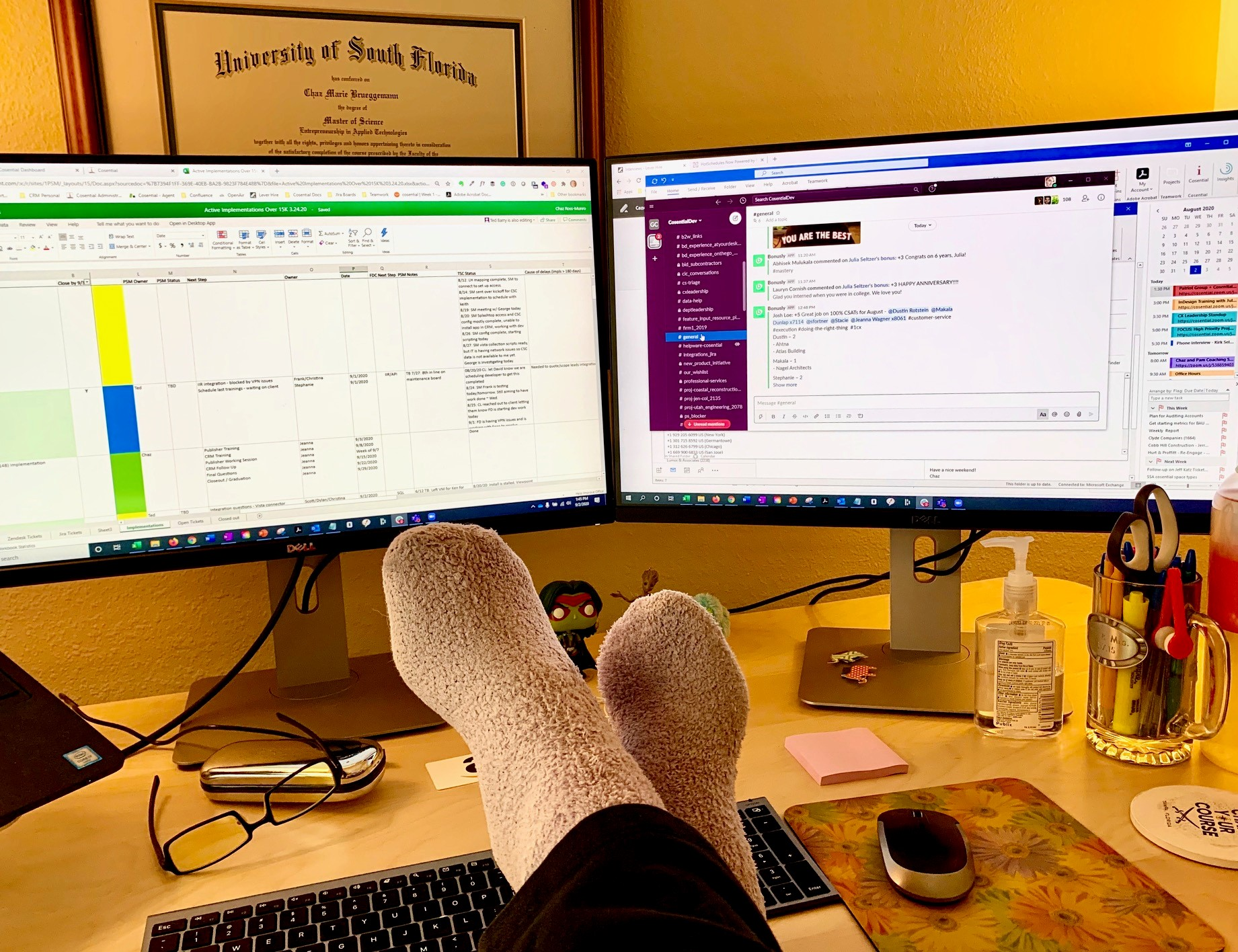 Working with my feet on the desk